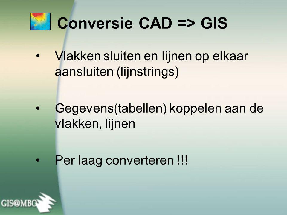 Conversie CAD => GIS Vlakken sluiten en lijnen op elkaar aansluiten (lijnstrings) Gegevens(tabellen) koppelen aan de vlakken, lijnen Per laag converteren !!!