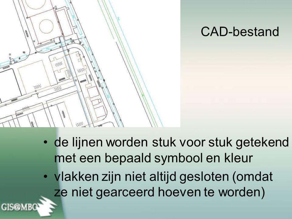 de lijnen worden stuk voor stuk getekend met een bepaald symbool en kleur vlakken zijn niet altijd gesloten (omdat ze niet gearceerd hoeven te worden) CAD-bestand