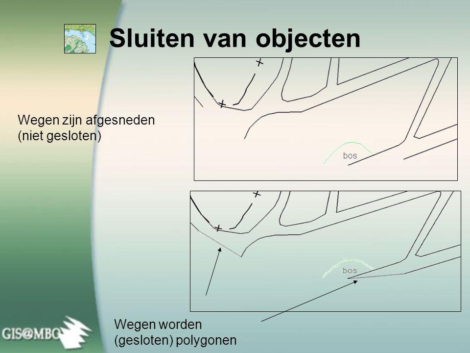 Wegen zijn afgesneden (niet gesloten) Wegen worden (gesloten) polygonen Sluiten van objecten