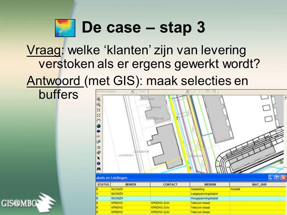 De case – stap 3 Vraag: welke 'klanten' zijn van levering verstoken als er ergens gewerkt wordt.