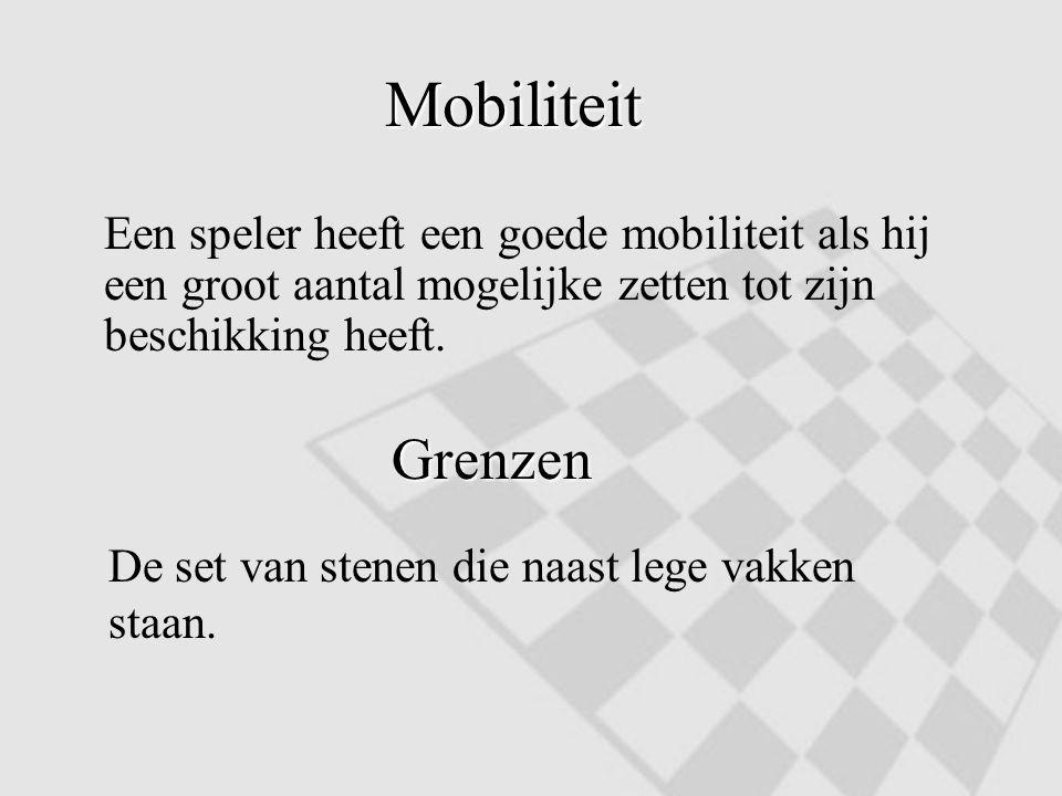 Mobiliteit Een speler heeft een goede mobiliteit als hij een groot aantal mogelijke zetten tot zijn beschikking heeft. Grenzen De set van stenen die n