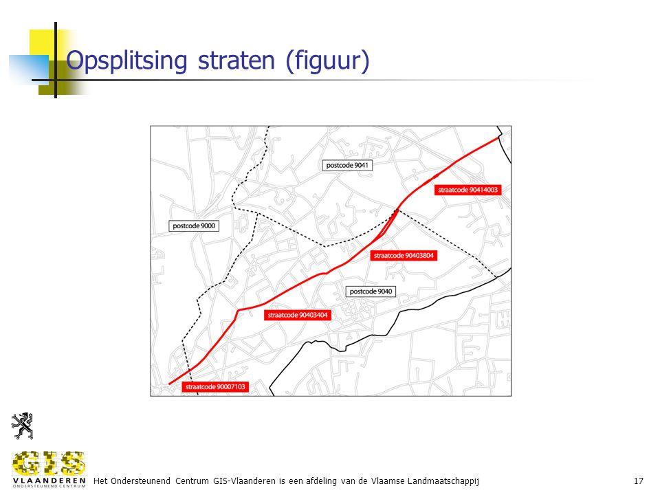 Het Ondersteunend Centrum GIS-Vlaanderen is een afdeling van de Vlaamse Landmaatschappij17 Opsplitsing straten (figuur)