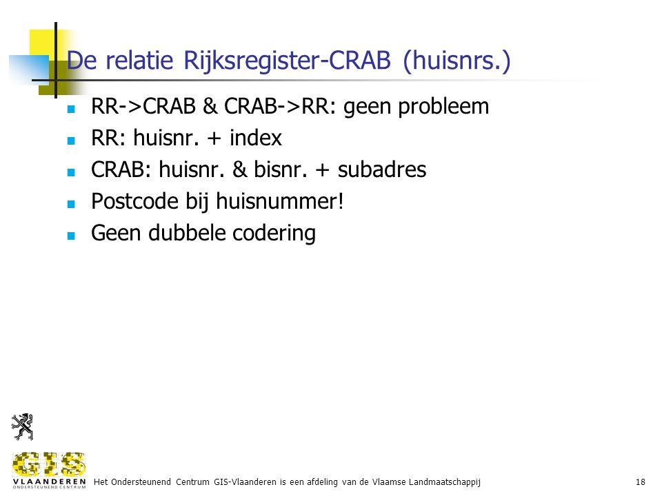 Het Ondersteunend Centrum GIS-Vlaanderen is een afdeling van de Vlaamse Landmaatschappij18 De relatie Rijksregister-CRAB (huisnrs.) RR->CRAB & CRAB->RR: geen probleem RR: huisnr.