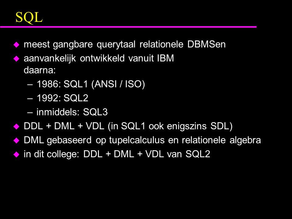 Voorbeeld complexe queries(DML) Geef de personen die tenminste naar ieder radiostation luisteren waar Piet ook naar luistert SELECTL1.PERSOON FROMLUISTERT_NAAR AS L1 WHERENOT EXISTS (SELECTLPIET.STATION FROMLUISTERT_NAAR AS LPIET WHERELPIET.PERSOON = PIET AND NOT EXISTS (SELECT* FROMLUISTERT_NAAR AS L2 WHEREL2.PERSOON = L1.PERSOON AND L2.STATION = LPIET.STATION));