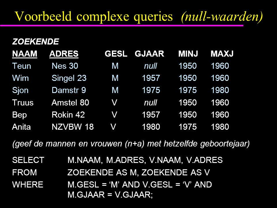 Voorbeeld complexe queries (null-waarden) ZOEKENDE NAAM ADRES GESL GJAARMINJ MAXJ Teun Nes 30 M null1950 1960 Wim Singel 23 M 19571950 1960 Sjon Damst