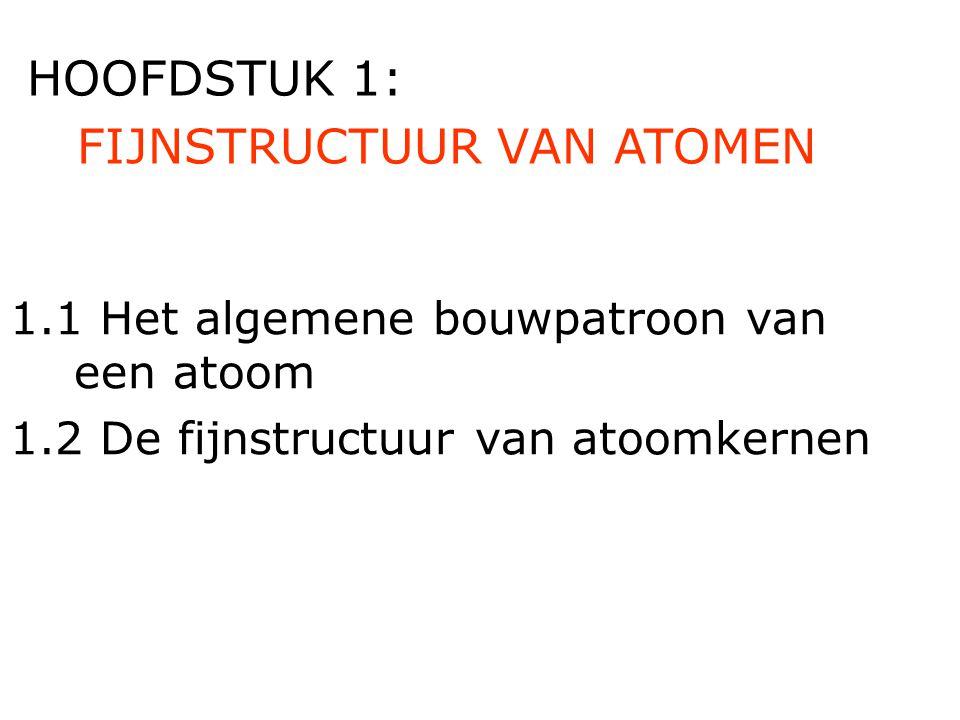 FIJNSTRUCTUUR VAN ATOMEN HOOFDSTUK 1: 1.1 Het algemene bouwpatroon van een atoom 1.2 De fijnstructuur van atoomkernen