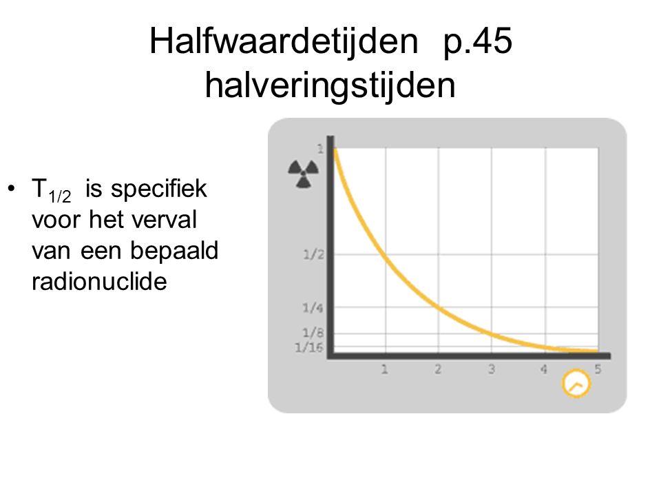 Halfwaardetijden p.45 halveringstijden T 1/2 is specifiek voor het verval van een bepaald radionuclide
