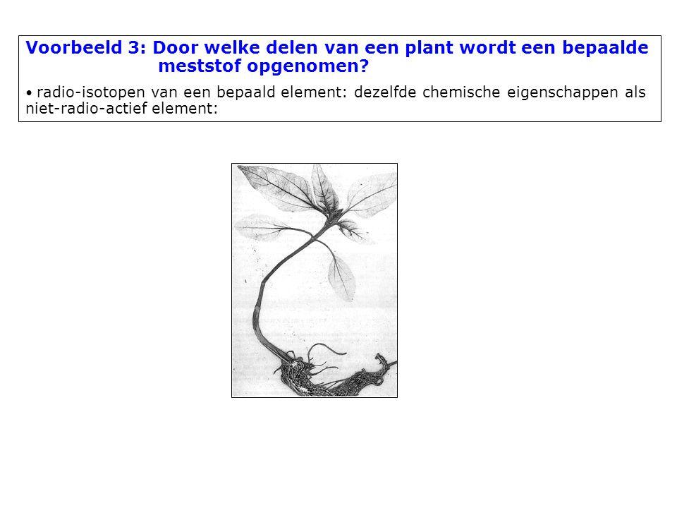 Voorbeeld 3: Door welke delen van een plant wordt een bepaalde meststof opgenomen? radio-isotopen van een bepaald element: dezelfde chemische eigensch