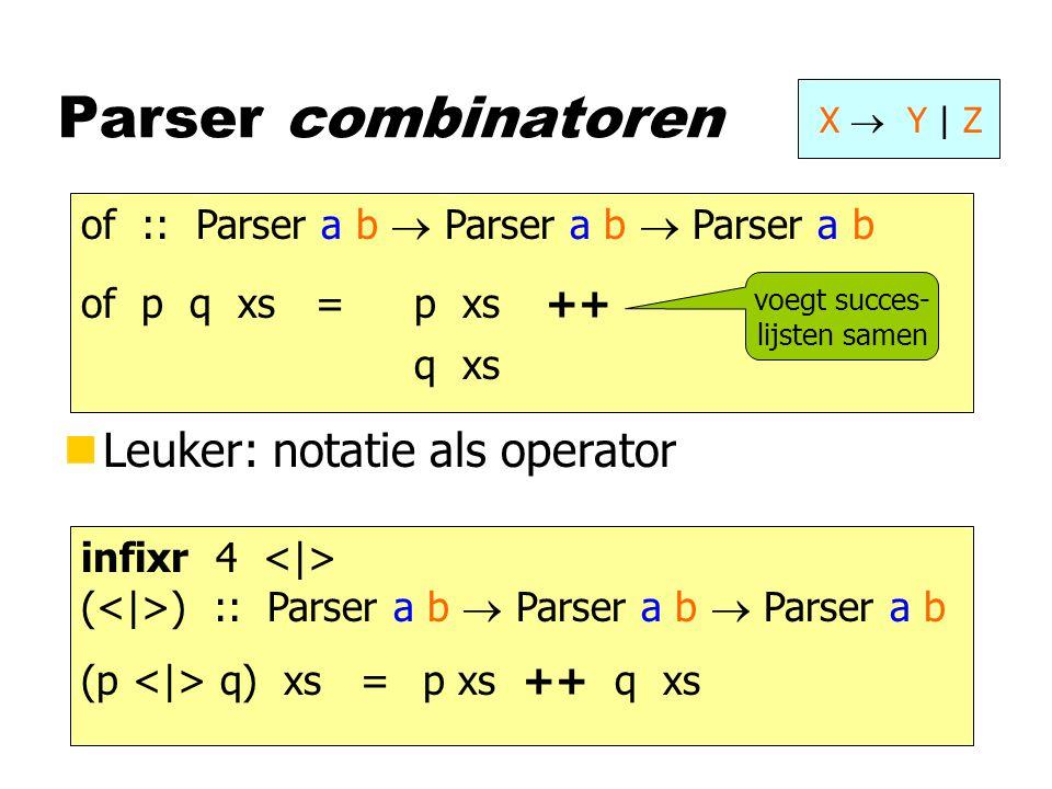 Parser combinatoren X  Y | Z of :: Parser a b  Parser a b  Parser a b of p q xs =p xs q xs ++ voegt succes- lijsten samen nLeuker: notatie als oper