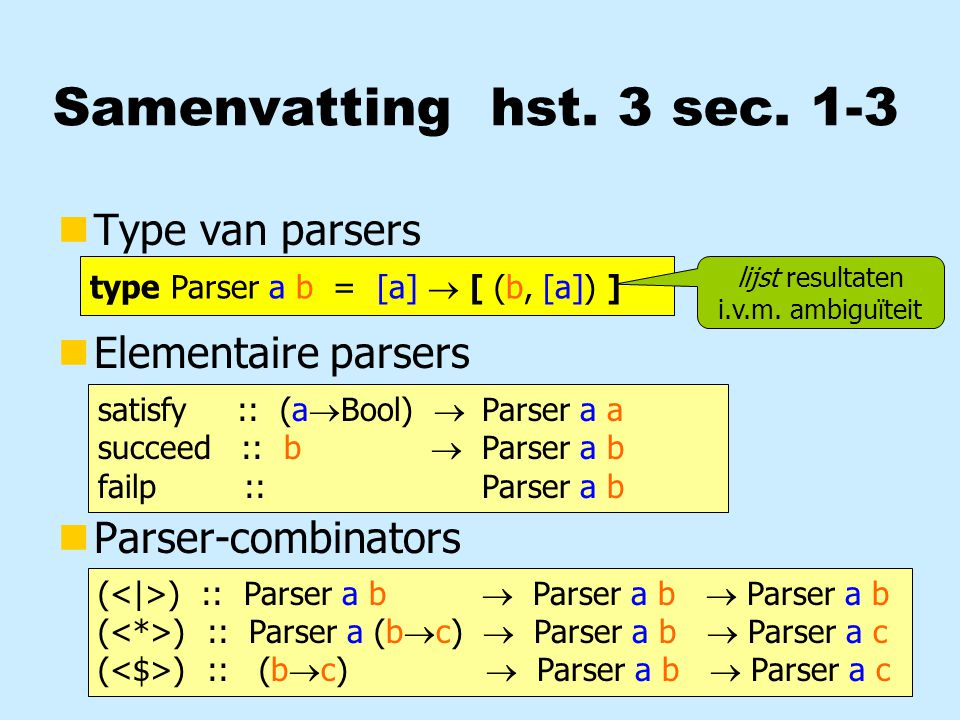 Samenvatting hst. 3 sec. 1-3 nType van parsers nElementaire parsers nParser-combinators type Parser a b = [a]  [ (b, [a]) ] lijst resultaten i.v.m. a