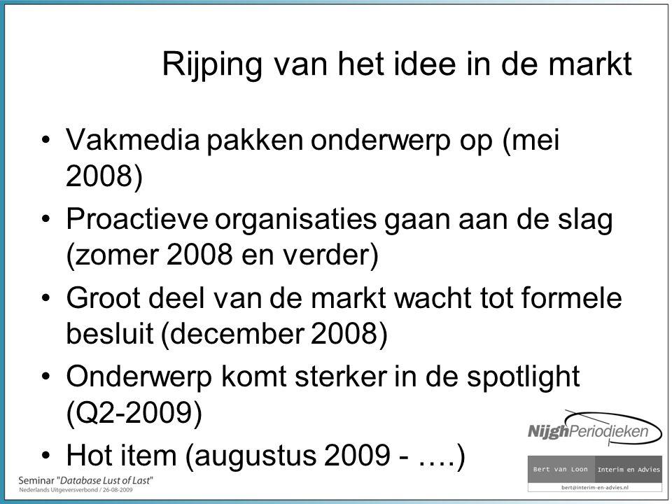 Rijping van het idee in de markt Vakmedia pakken onderwerp op (mei 2008) Proactieve organisaties gaan aan de slag (zomer 2008 en verder) Groot deel van de markt wacht tot formele besluit (december 2008) Onderwerp komt sterker in de spotlight (Q2-2009) Hot item (augustus 2009 - ….)