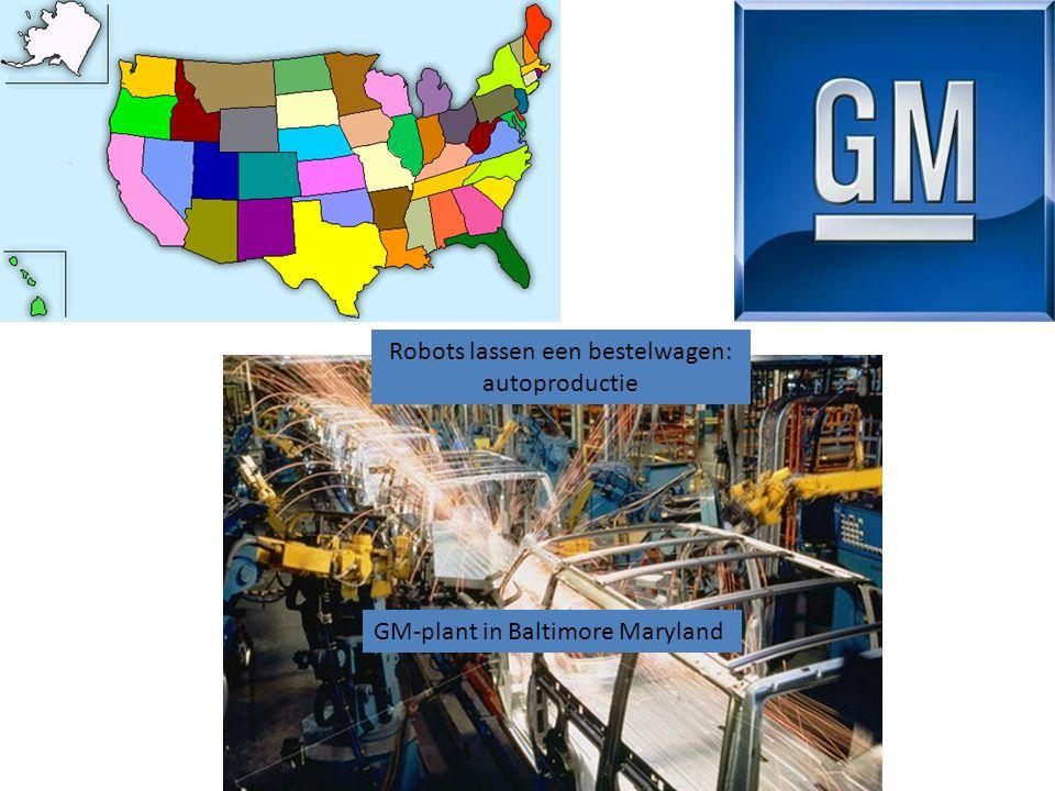GM-plant in Baltimore Maryland Robots lassen een bestelwagen: autoproductie