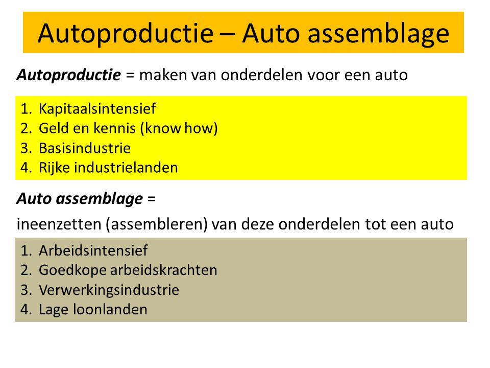 Autoproductie – Auto assemblage Autoproductie = maken van onderdelen voor een auto Auto assemblage = ineenzetten (assembleren) van deze onderdelen tot een auto 1.Kapitaalsintensief 2.Geld en kennis (know how) 3.Basisindustrie 4.Rijke industrielanden 1.Arbeidsintensief 2.Goedkope arbeidskrachten 3.Verwerkingsindustrie 4.Lage loonlanden