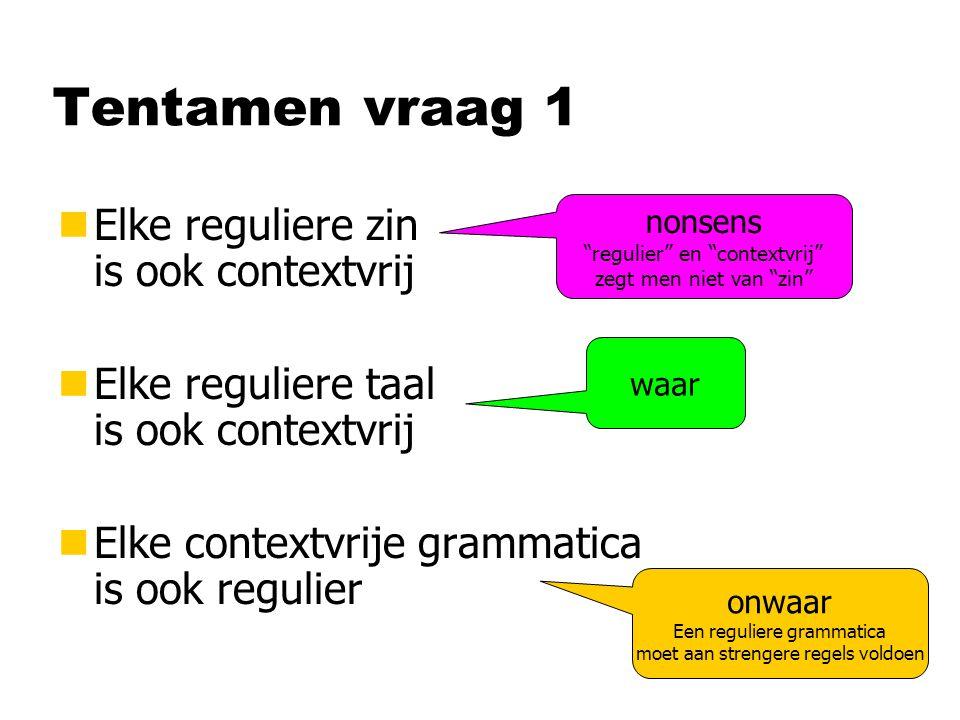Tentamen vraag 1 nElke reguliere zin is ook contextvrij nElke reguliere taal is ook contextvrij nElke contextvrije grammatica is ook regulier nonsens regulier en contextvrij zegt men niet van zin waar onwaar Een reguliere grammatica moet aan strengere regels voldoen