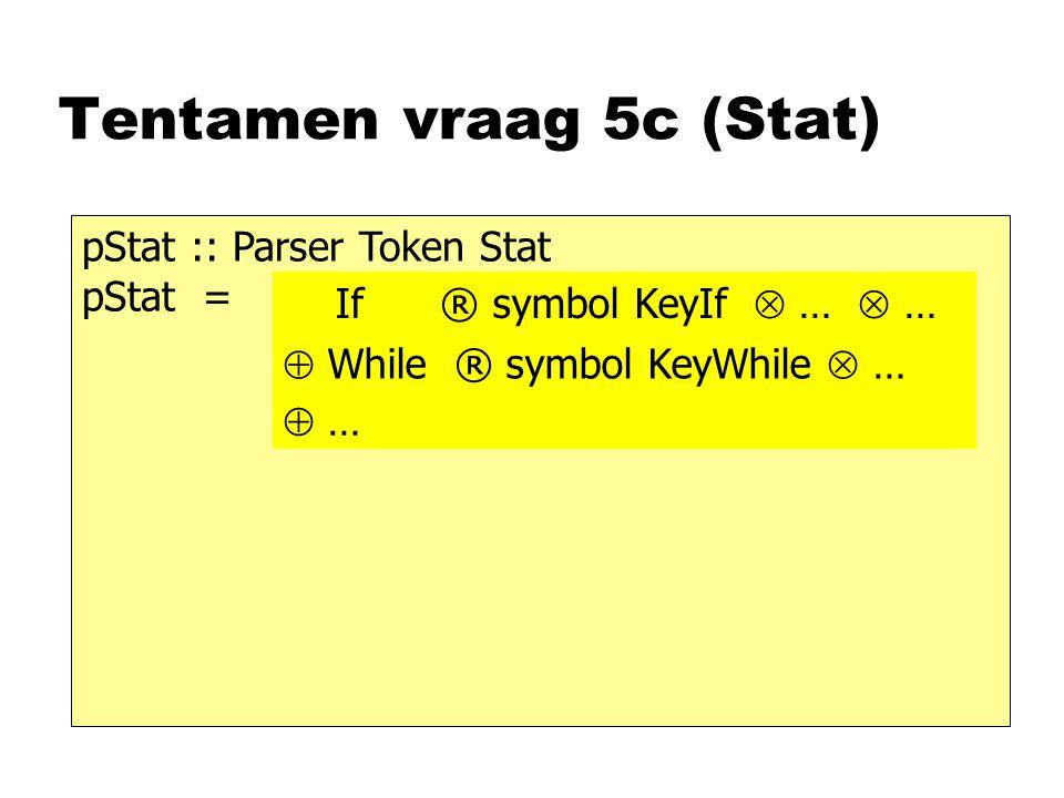 Tentamen vraag 5c (Stat) pStat :: Parser Token Stat pStat = If ® symbol KeyIf  …  …  While ® symbol KeyWhile  …  …