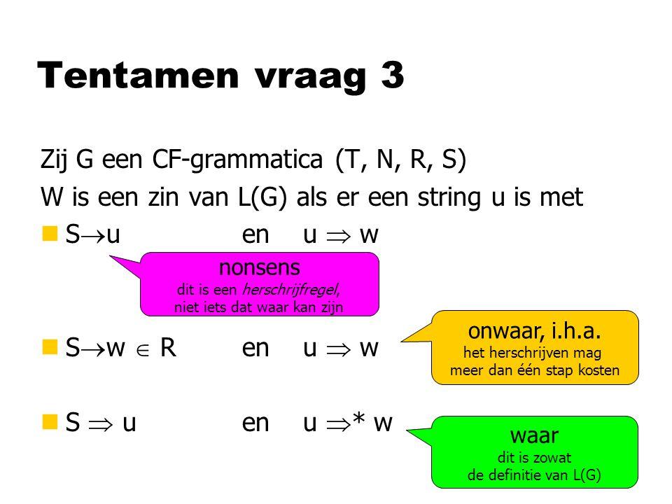 Tentamen vraag 3 Zij G een CF-grammatica (T, N, R, S) W is een zin van L(G) als er een string u is met nS  uen u  w nS  w  Ren u  w nS  u en u  * w waar dit is zowat de definitie van L(G) onwaar, i.h.a.