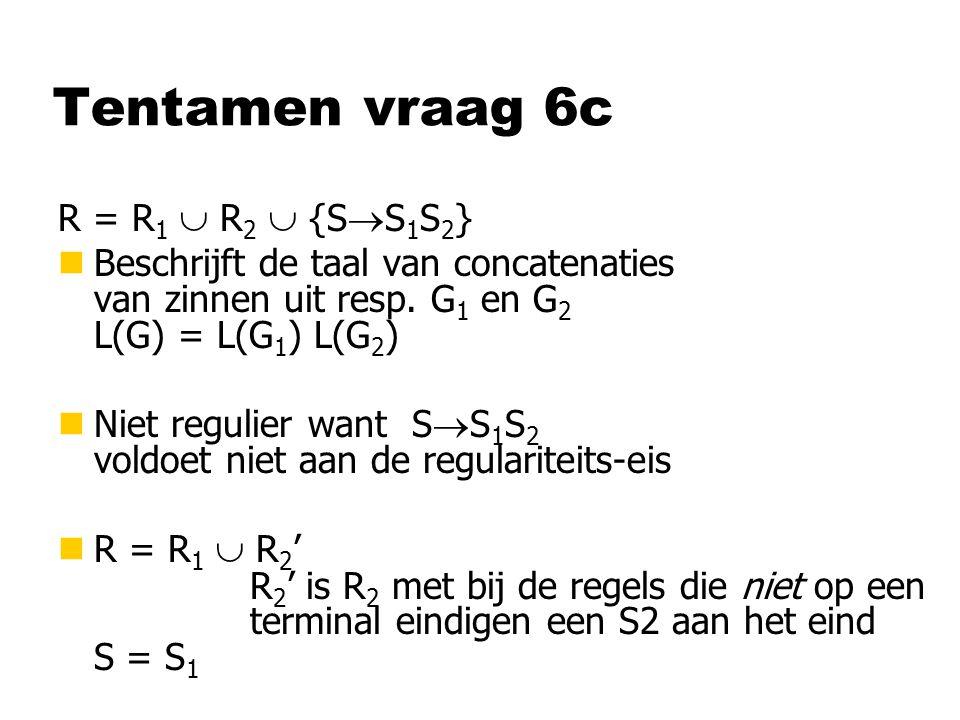 Tentamen vraag 6c R = R 1  R 2  {S  S 1 S 2 } nBeschrijft de taal van concatenaties van zinnen uit resp.