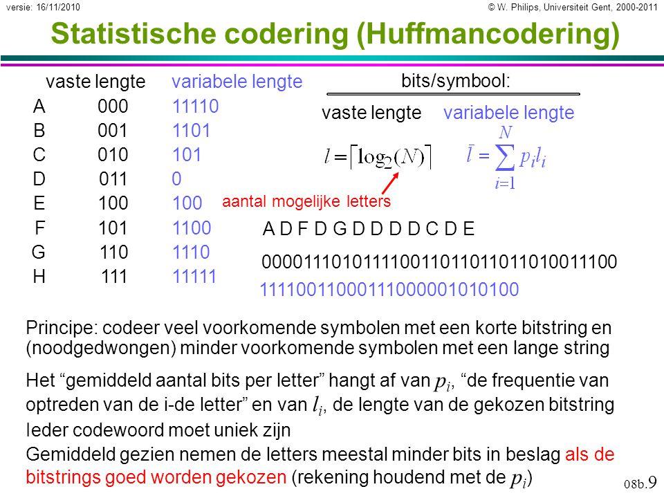 © W. Philips, Universiteit Gent, 2000-2011versie: 16/11/2010 08b. 9 Statistische codering (Huffmancodering) Principe: codeer veel voorkomende symbolen