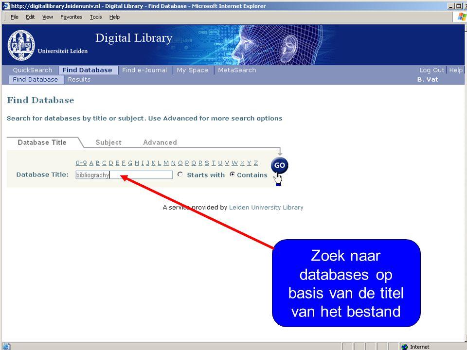 Zoek naar databases op basis van de titel van het bestand