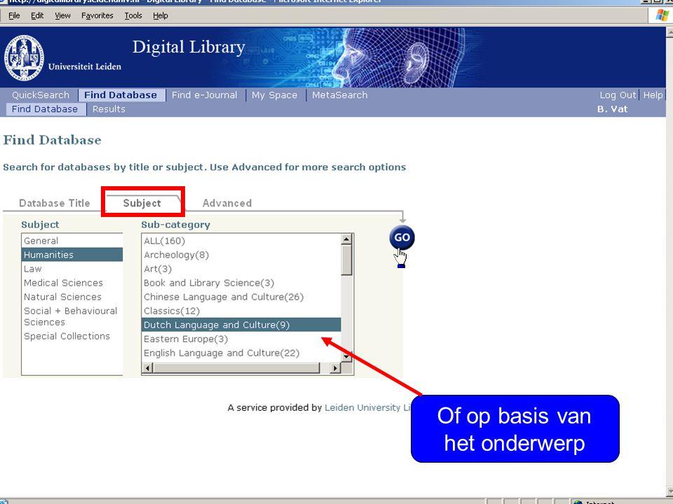Klik op de + om databases toe te voegen aan uw persoonlijke omgeving