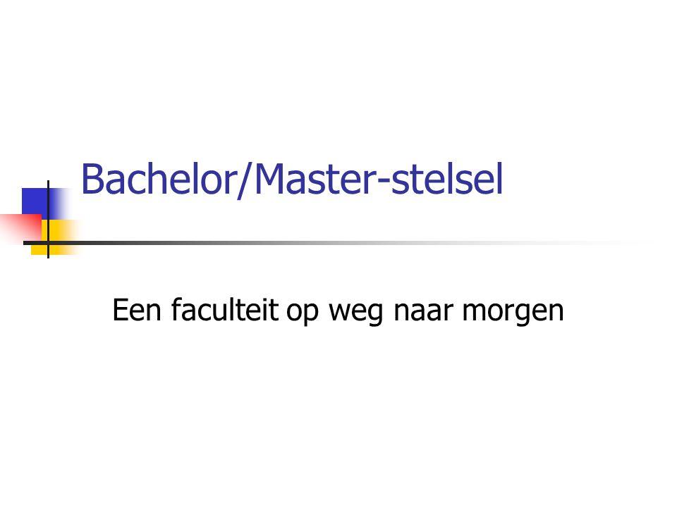 Bachelor/Master-stelsel Een faculteit op weg naar morgen