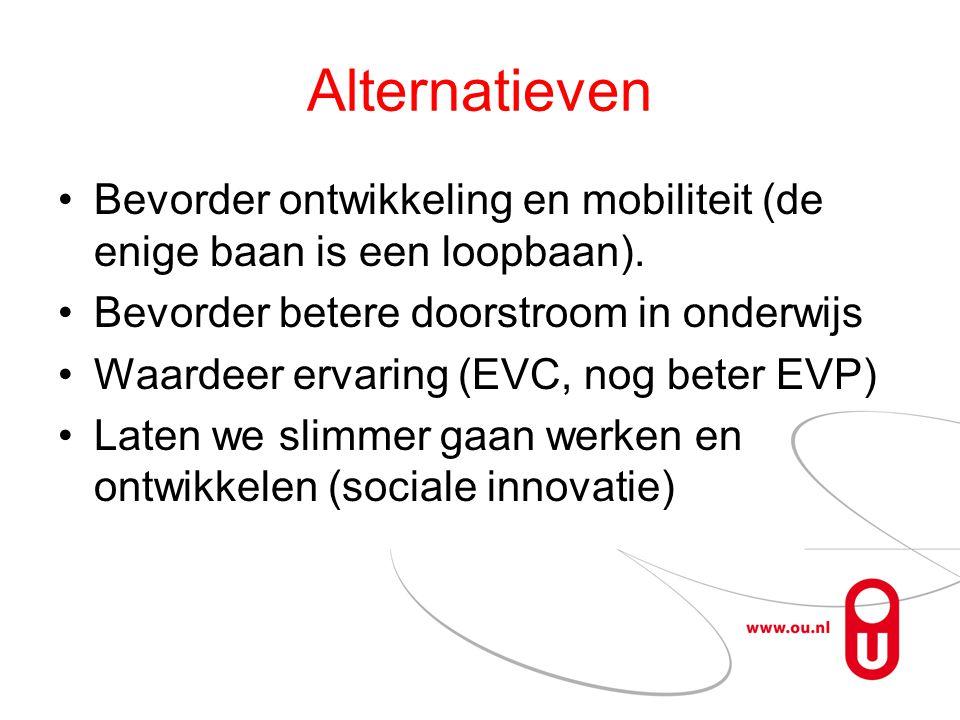 Alternatieven Bevorder ontwikkeling en mobiliteit (de enige baan is een loopbaan). Bevorder betere doorstroom in onderwijs Waardeer ervaring (EVC, nog