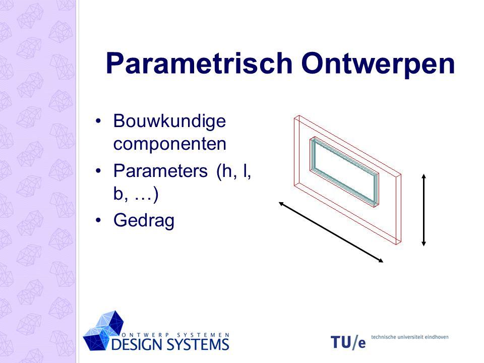 Parametrisch Ontwerpen Bouwkundige componenten Parameters (h, l, b, …) Gedrag