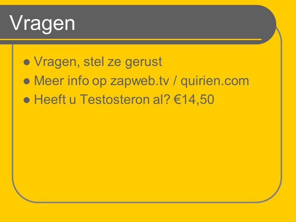 Vragen Vragen, stel ze gerust Meer info op zapweb.tv / quirien.com Heeft u Testosteron al? €14,50