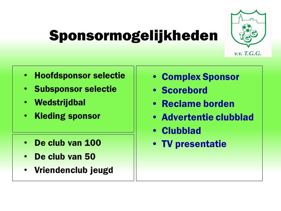 Sponsormogelijkheden Hoofdsponsor selectie Subsponsor selectie Wedstrijdbal Kleding sponsor De club van 100 De club van 50 Vriendenclub jeugd Complex