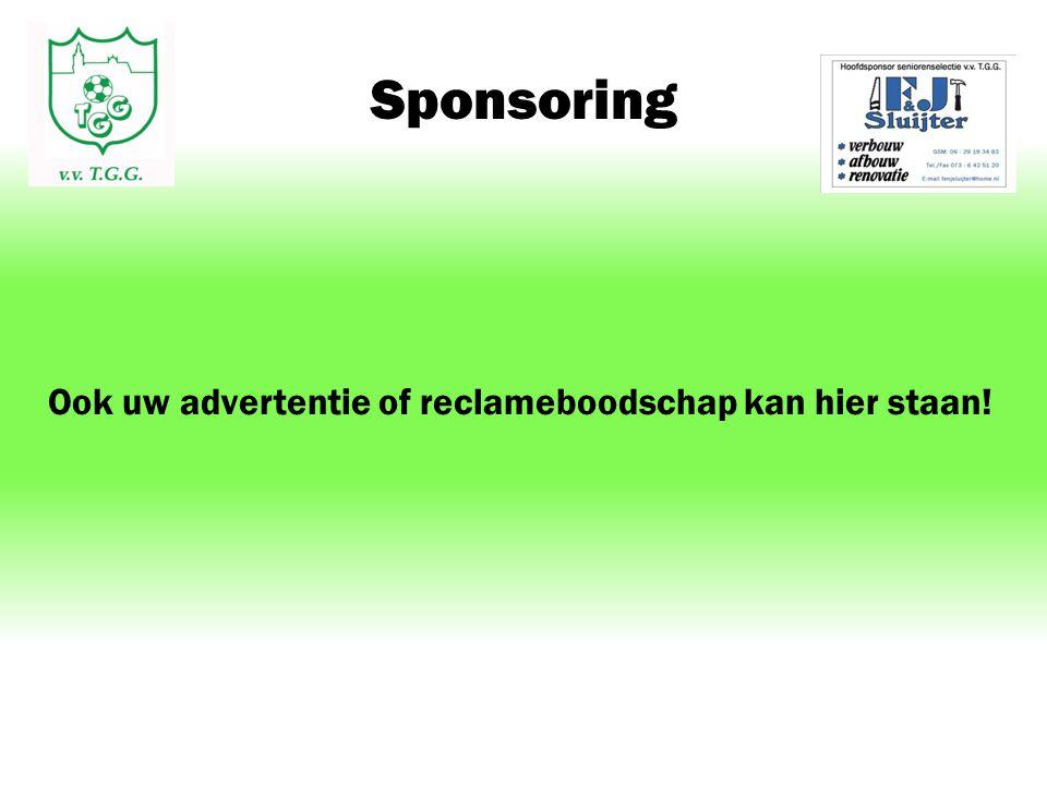 Sponsoring Ook uw advertentie of reclameboodschap kan hier staan!