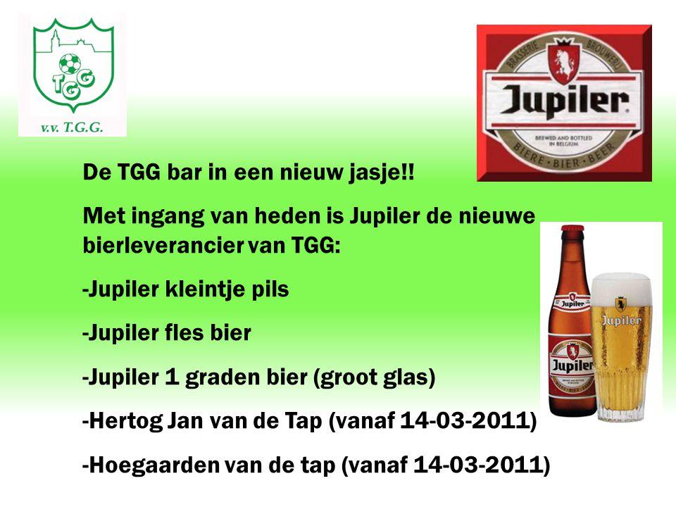 De TGG bar in een nieuw jasje!! Met ingang van heden is Jupiler de nieuwe bierleverancier van TGG: -Jupiler kleintje pils -Jupiler fles bier -Jupiler