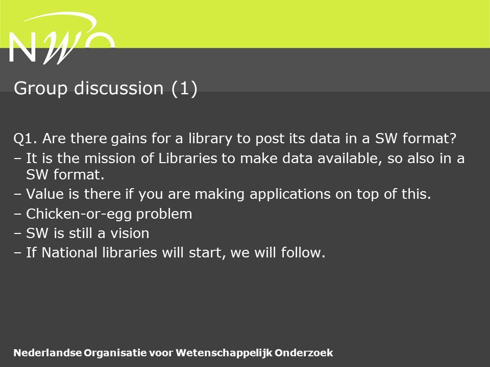 Nederlandse Organisatie voor Wetenschappelijk Onderzoek Group discussion (2) Q2.