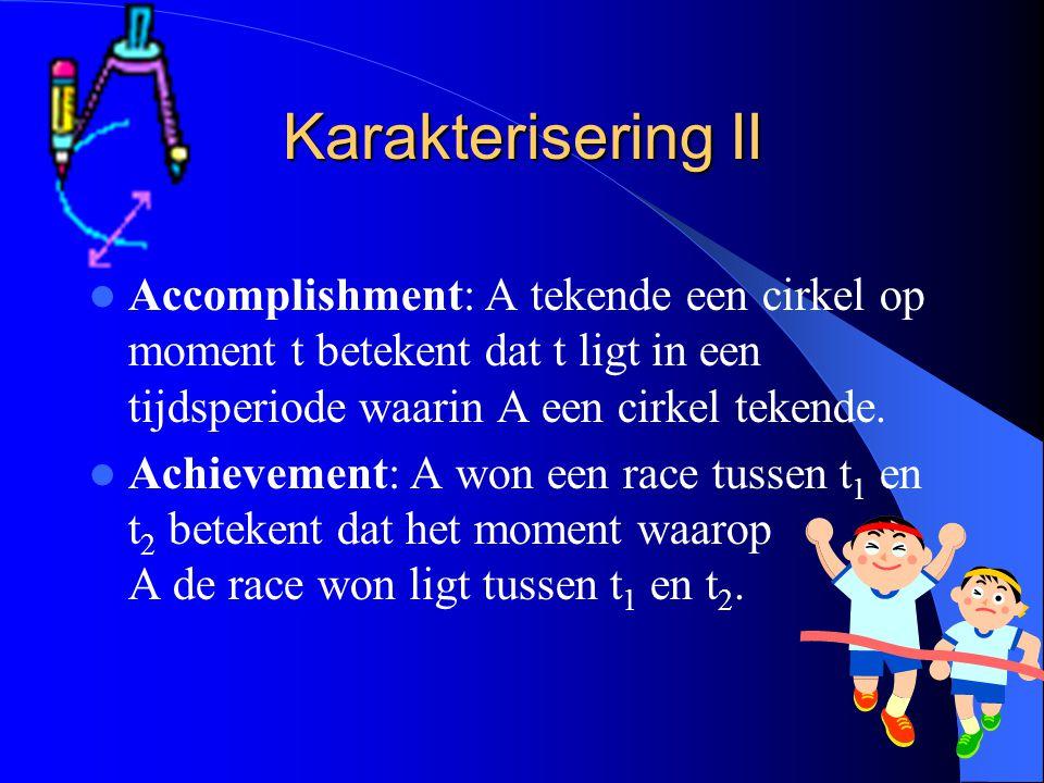 Karakterisering II Accomplishment: A tekende een cirkel op moment t betekent dat t ligt in een tijdsperiode waarin A een cirkel tekende. Achievement: