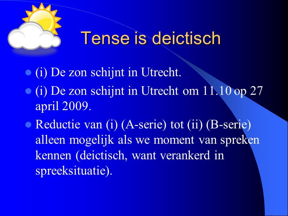 Tense is deictisch (i) De zon schijnt in Utrecht. (i) De zon schijnt in Utrecht om 11.10 op 27 april 2009. Reductie van (i) (A-serie) tot (ii) (B-seri