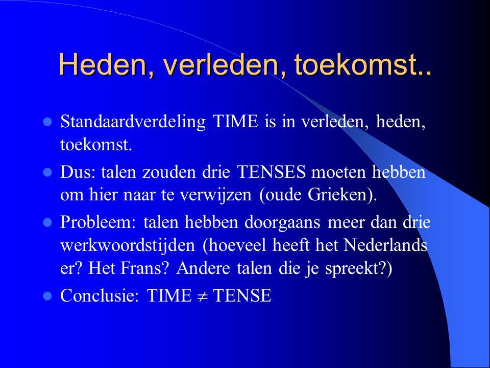 Heden, verleden, toekomst.. Standaardverdeling TIME is in verleden, heden, toekomst. Dus: talen zouden drie TENSES moeten hebben om hier naar te verwi