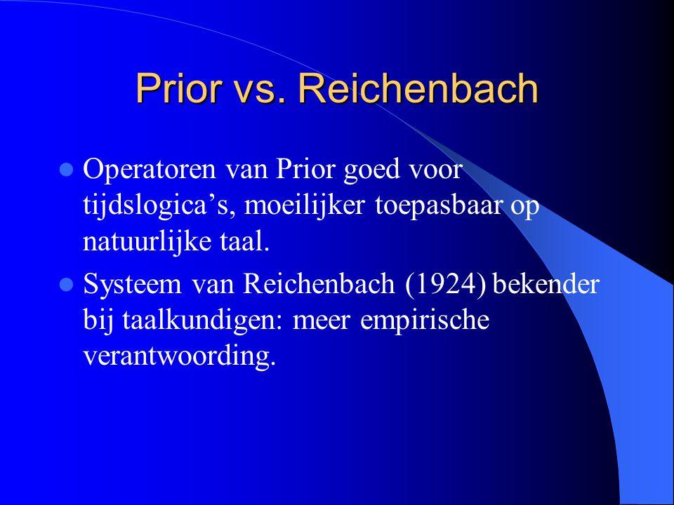 Prior vs. Reichenbach Operatoren van Prior goed voor tijdslogica's, moeilijker toepasbaar op natuurlijke taal. Systeem van Reichenbach (1924) bekender