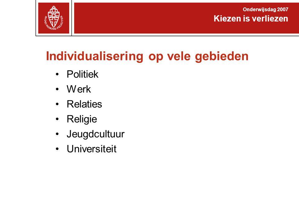Individualisering in politiek Kiezen is verliezen Onderwijsdag 2007 Politieke partijen in Nederland: 300.000 leden One issue actiegroepen groot: –Greenpeace 600.000 donateurs –Artsen zonder Grenzen 700.000 donateurs