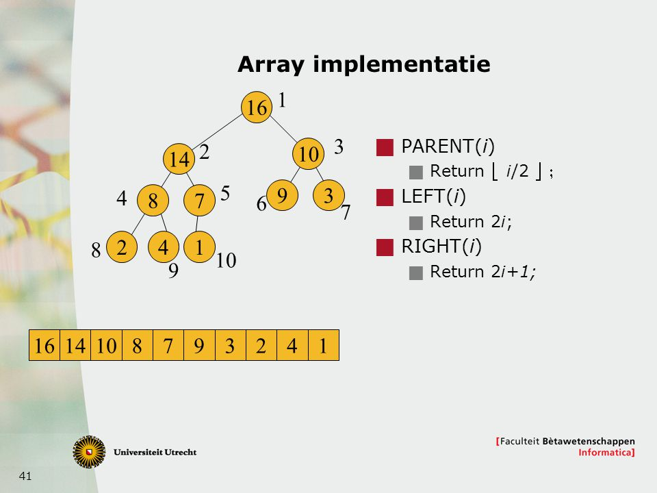 41 Array implementatie  PARENT(i)  Return  i/2   LEFT(i)  Return 2i;  RIGHT(i)  Return 2i+1; 16 14 8 241 7 10 93 1 2 3 4 5 6 7 8 9 1614108793241