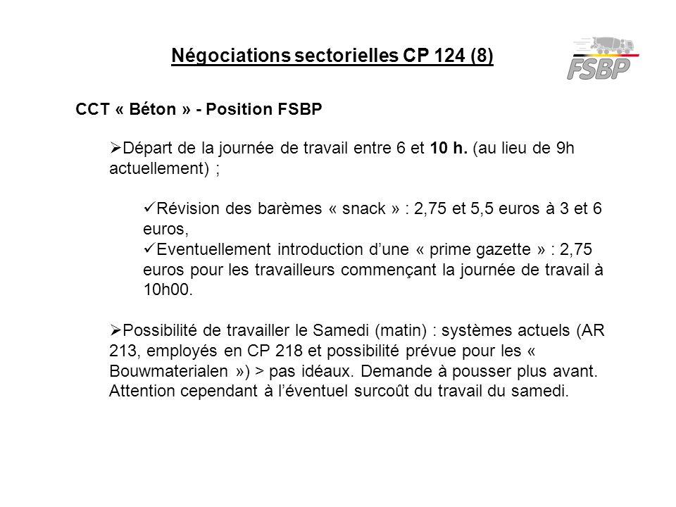 Négociations sectorielles CP 124 (8) CCT « Béton » - Position FSBP  Départ de la journée de travail entre 6 et 10 h. (au lieu de 9h actuellement) ; R