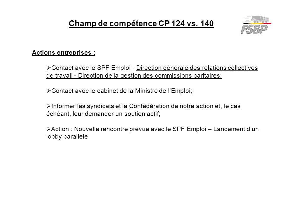 Champ de compétence CP 124 vs. 140 Actions entreprises :  Contact avec le SPF Emploi - Direction générale des relations collectives de travail - Dire