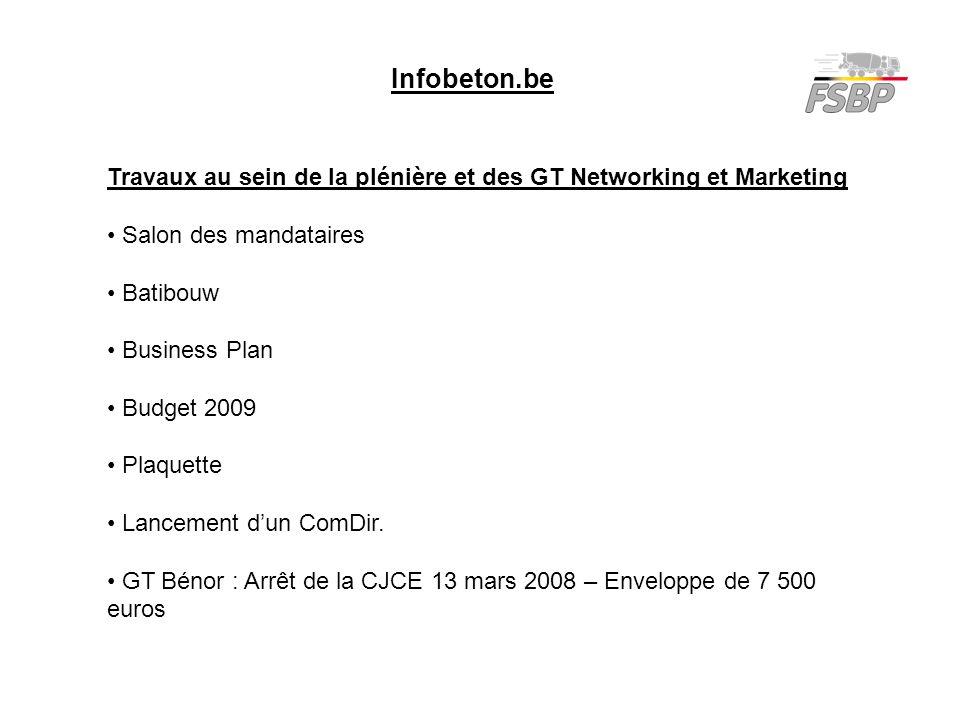 Infobeton.be Travaux au sein de la plénière et des GT Networking et Marketing Salon des mandataires Batibouw Business Plan Budget 2009 Plaquette Lancement d'un ComDir.