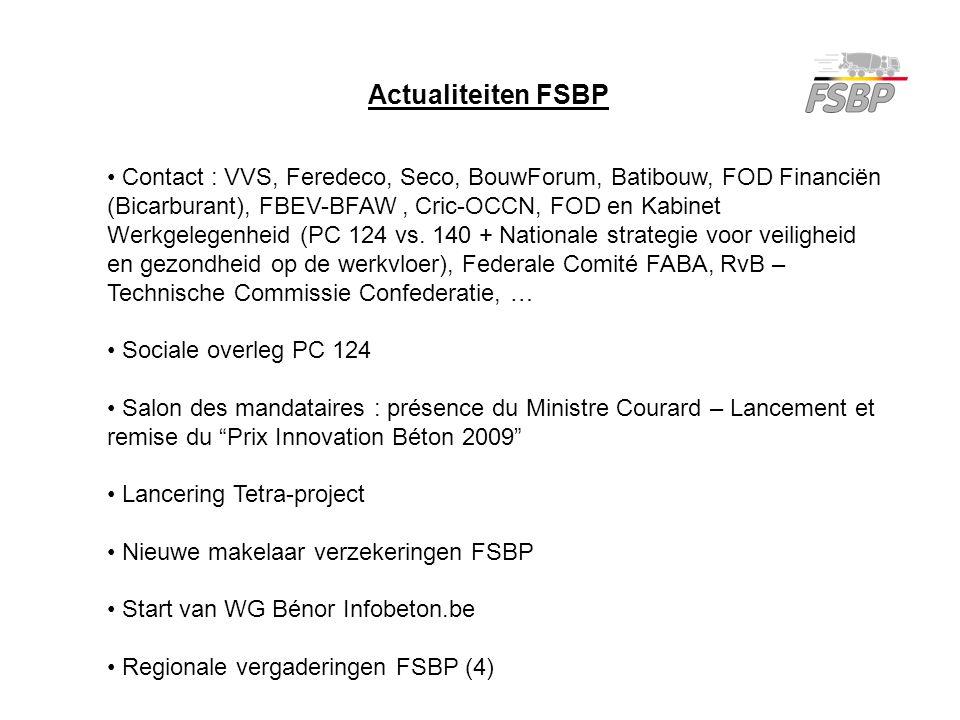 Contact : VVS, Feredeco, Seco, BouwForum, Batibouw, FOD Financiën (Bicarburant), FBEV-BFAW, Cric-OCCN, FOD en Kabinet Werkgelegenheid (PC 124 vs. 140