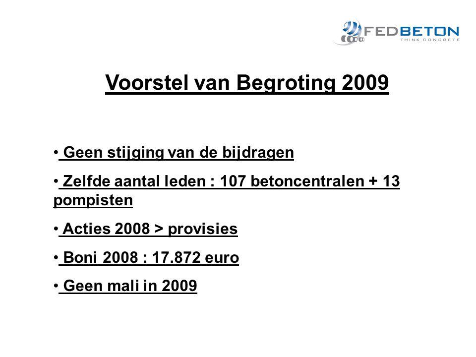 Voorstel van Begroting 2009 Geen stijging van de bijdragen Zelfde aantal leden : 107 betoncentralen + 13 pompisten Acties 2008 > provisies Boni 2008 : 17.872 euro Geen mali in 2009