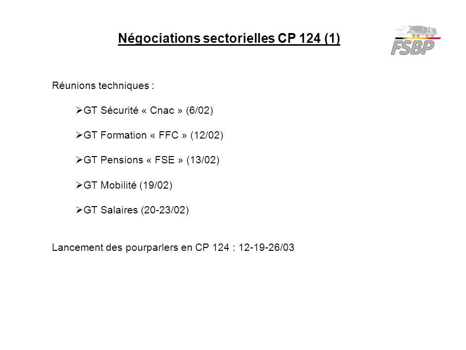 Négociations sectorielles CP 124 (1) Réunions techniques :  GT Sécurité « Cnac » (6/02)  GT Formation « FFC » (12/02)  GT Pensions « FSE » (13/02)  GT Mobilité (19/02)  GT Salaires (20-23/02) Lancement des pourparlers en CP 124 : 12-19-26/03