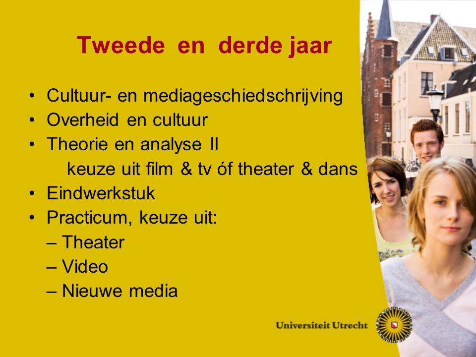 Tweede en derde jaar Cultuur- en mediageschiedschrijving Overheid en cultuur Theorie en analyse II keuze uit film & tv óf theater & dans Eindwerkstuk