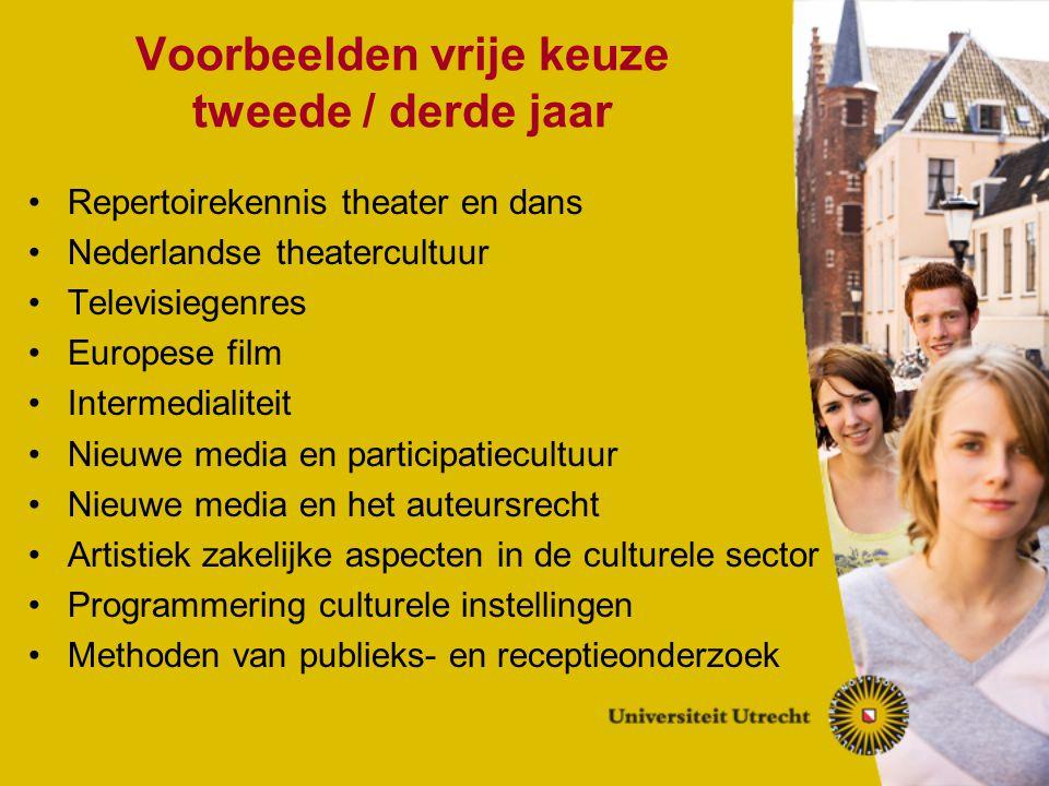 Voorbeelden vrije keuze tweede / derde jaar Repertoirekennis theater en dans Nederlandse theatercultuur Televisiegenres Europese film Intermedialiteit