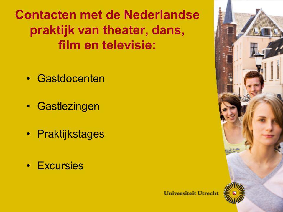 Contacten met de Nederlandse praktijk van theater, dans, film en televisie: Gastdocenten Gastlezingen Praktijkstages Excursies