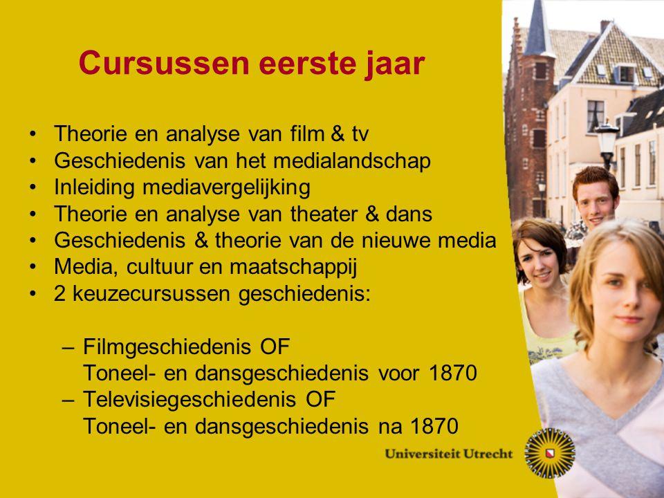 Cursussen eerste jaar Theorie en analyse van film & tv Geschiedenis van het medialandschap Inleiding mediavergelijking Theorie en analyse van theater