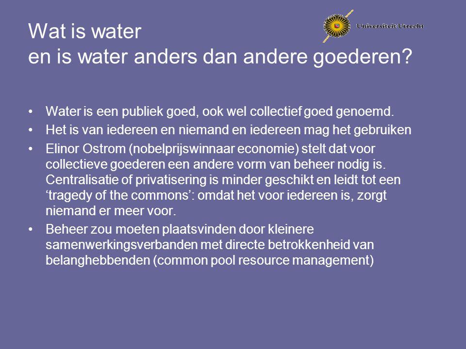 Wat is water en is water anders dan andere goederen? Water is een publiek goed, ook wel collectief goed genoemd. Het is van iedereen en niemand en ied