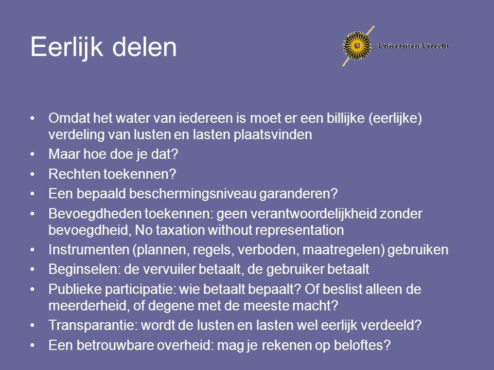 Eerlijk delen Omdat het water van iedereen is moet er een billijke (eerlijke) verdeling van lusten en lasten plaatsvinden Maar hoe doe je dat? Rechten